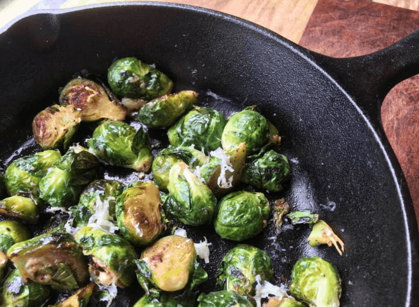 brussels sprouts in a cast pan