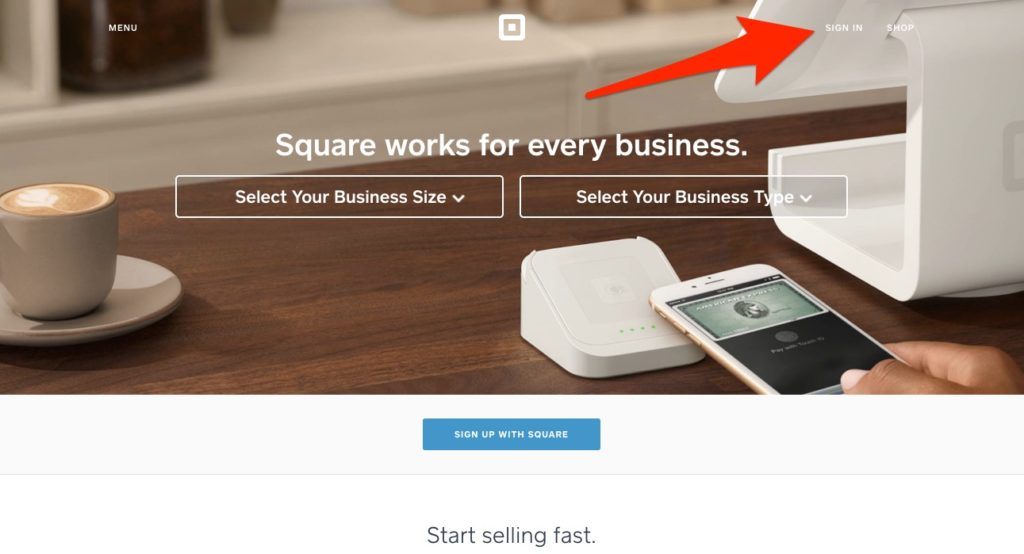 Send a Square Invoice   Step by Step Guide Square invoice login screen