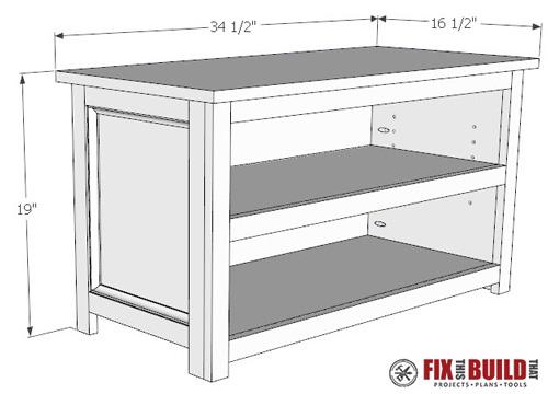 Shoe Storage Bench Plans