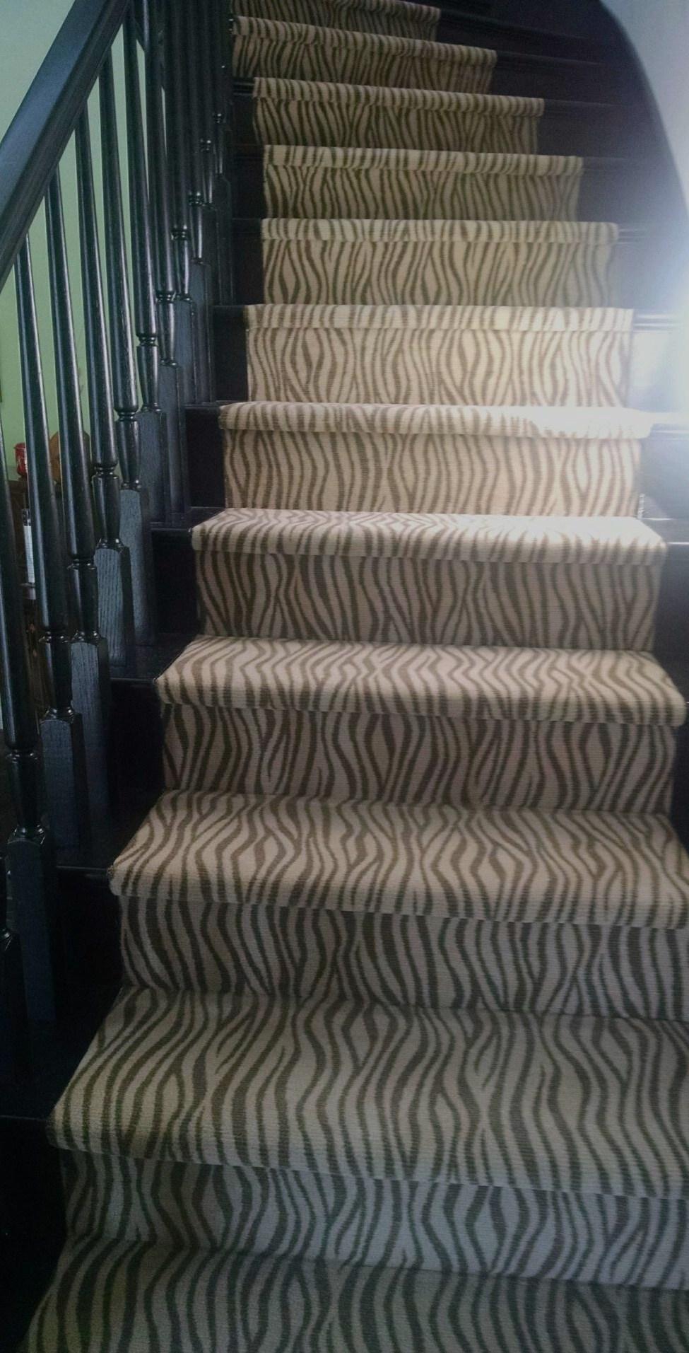 Zebra Print Stair Runner Hemphill S Rugs Carpets Portfolio | Printed Carpet For Stairs | High Traffic | Gray | Karastan Patterned | Georgian | Middle Open Concept