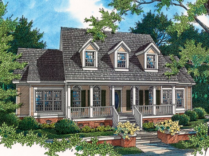Viola Lowcountry Style Home Plan 020D 0033   House Plans and More Country Style Home With Charming Covered Front Porch And A Trio Of Dormers