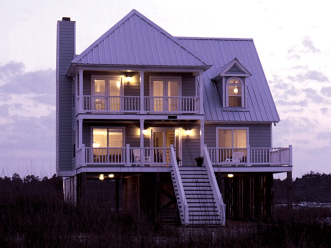 Parham Raised Coastal Home Plan 024D 0013   House Plans and More Great Vacation Style Home With Multiple Levels Of Covered Decks For Views