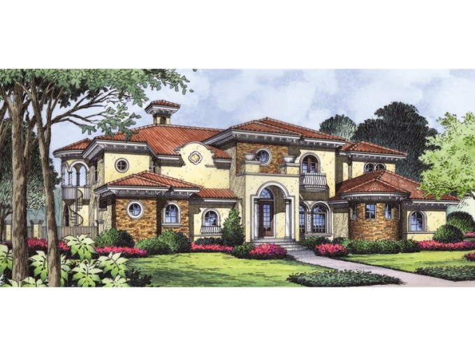 Winston Park Spanish Home Plan 047D 0068   House Plans and More Stone On Stucco Adds Great Style To This Detailed Adobe Home