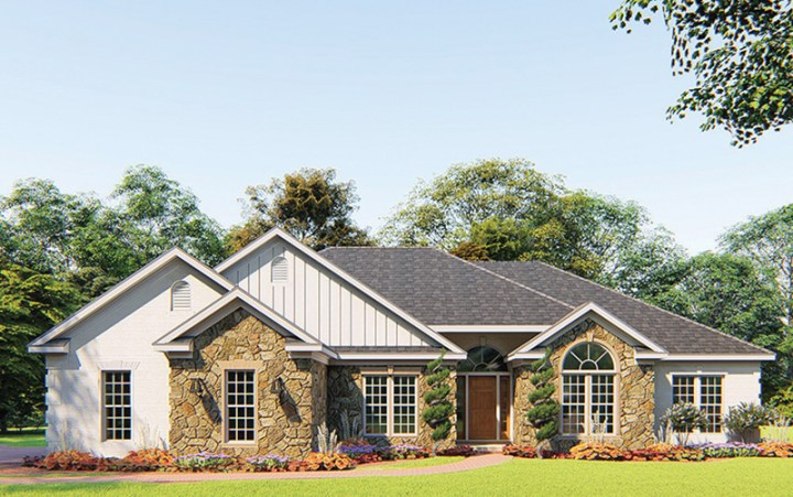 Fernleaf Ranch Home Plan 055D 0205   House Plans and More All Brick Ranch House With Multiple Gables And An Arched Window