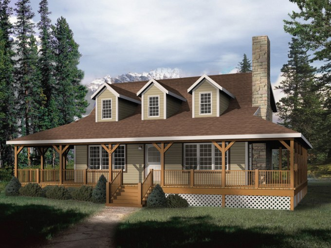 Addison Park Rustic Home Plan 058D 0032   House Plans and More Mountain Home Plan Front of Home   058D 0032   House Plans and More