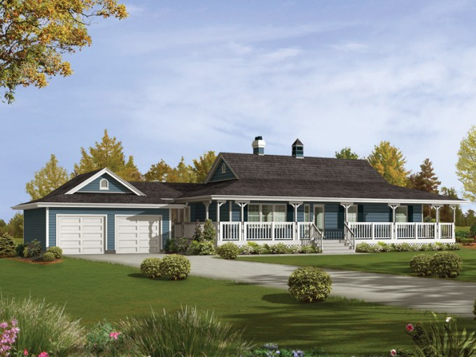 Caldean Country Ranch Home Plan 062D 0041   House Plans and More Country Ranch With Spacious Wrap Around Porch