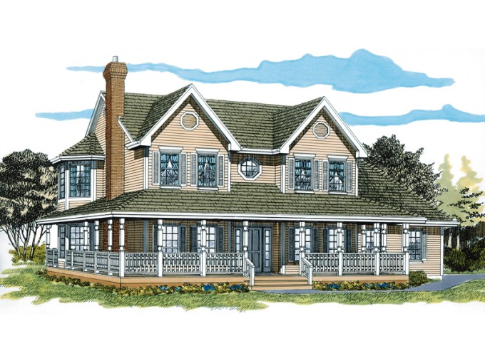 Painted Creek Country Farmhouse Plan 062D 0309   House Plans and More Wrap Around Porch Surround This Farmhouse Homes Fa    ade