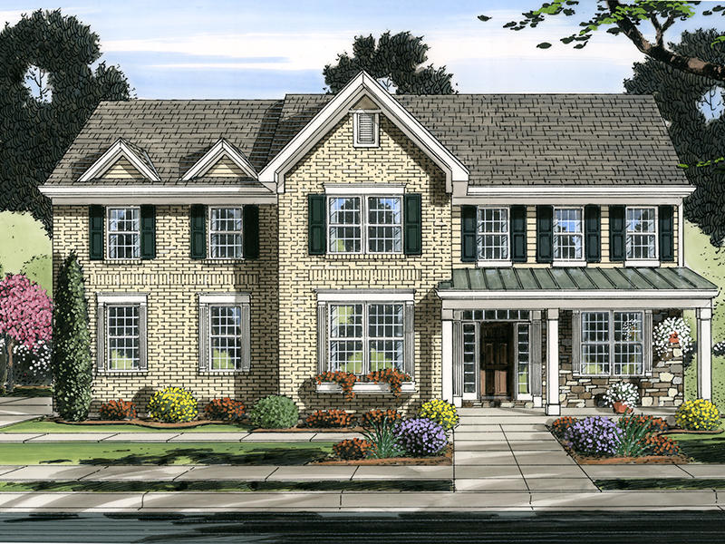 Alston Traditional Home Plan 065D 0371   House Plans and More Traditional House Plan Front of Home   065D 0371   House Plans and More