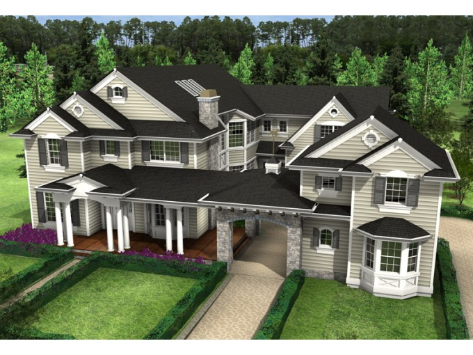 Rochester Mill Luxury Home Plan 071S 0027   House Plans and More Large Home Has Unique Porte Cochere