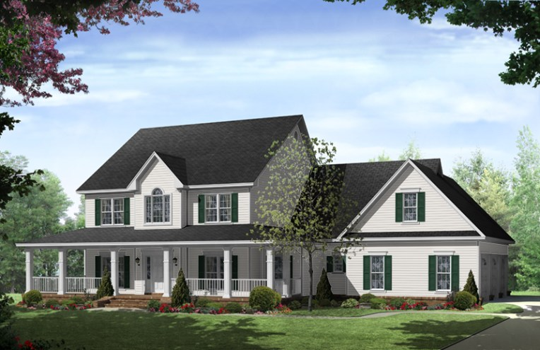 Stonewood Lane Country Home Plan 077D 0283   House Plans and More Colonial House Plan Front of Home   077D 0283   House Plans and More