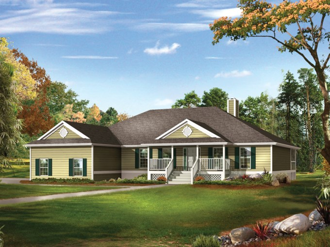 Farm Pond Country Ranch Home Plan 081D 0041   House Plans and More Country Style Ranch Home