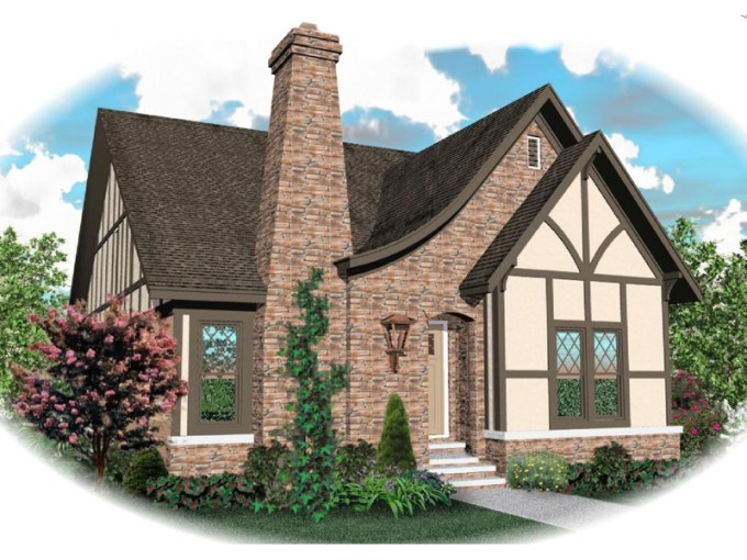 Apollo Hill Tudor Cottage Home Plan 087D 0699   House Plans and More Tudor House Plan Front of Home   087D 0699   House Plans and More