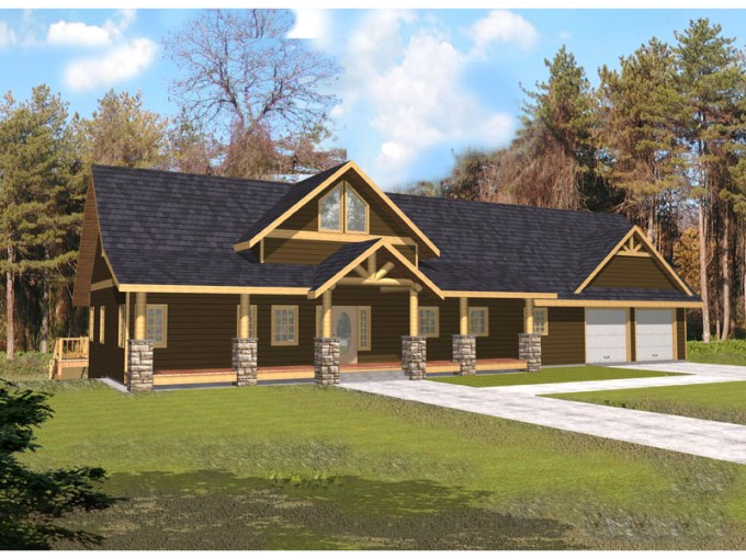 Indian Pass Rustic Home Plan 088D 0339   House Plans and More Stone And Timber Columns On Porch Add Rustic Feel