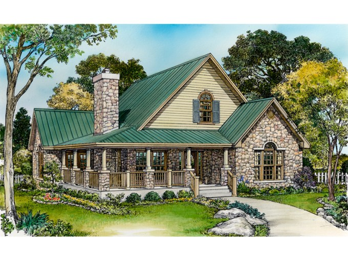 Parsons Bend Rustic Cottage Home Plan 095D 0050   House Plans and More Traditional House Plan Front of Home   095D 0050   House Plans and More