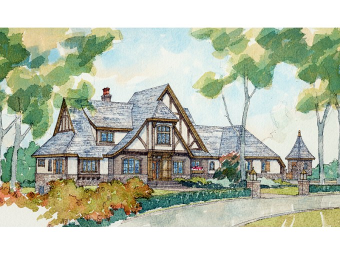 Riordan Manor Luxury Tudor Home Plan 105S 0004   House Plans and More Two Story Luxury Tudor Style House
