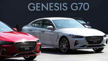 South Korea s Genesis tops auto ratings  unknown to US car buyers Genesis G70 sedans on display during a launch event in Hwaseong