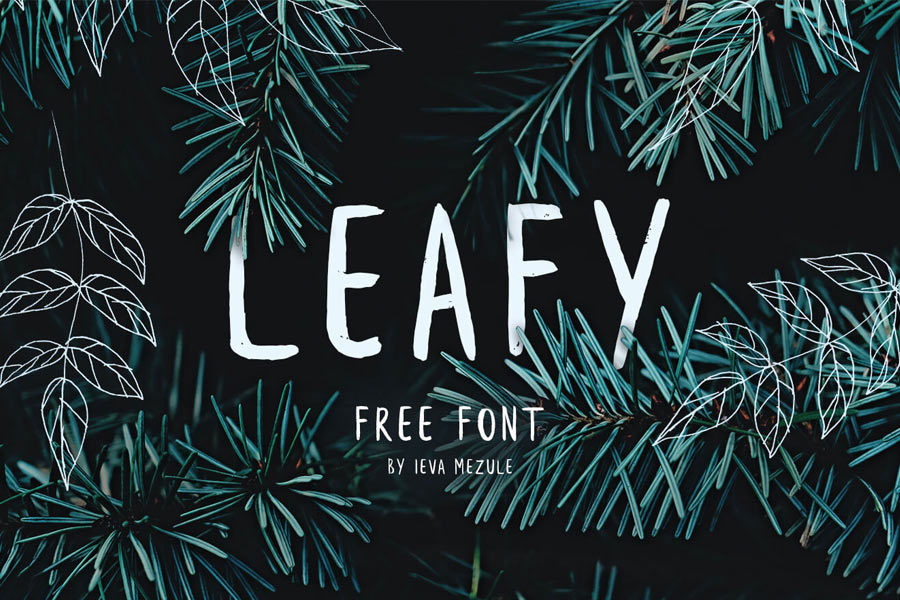 Leafy   FondFont Leafy is a well made handwritten brush font  brushed by fashion designer  Ieva Mezule  It has a total of 95 characters  all hand crafted and each of  them