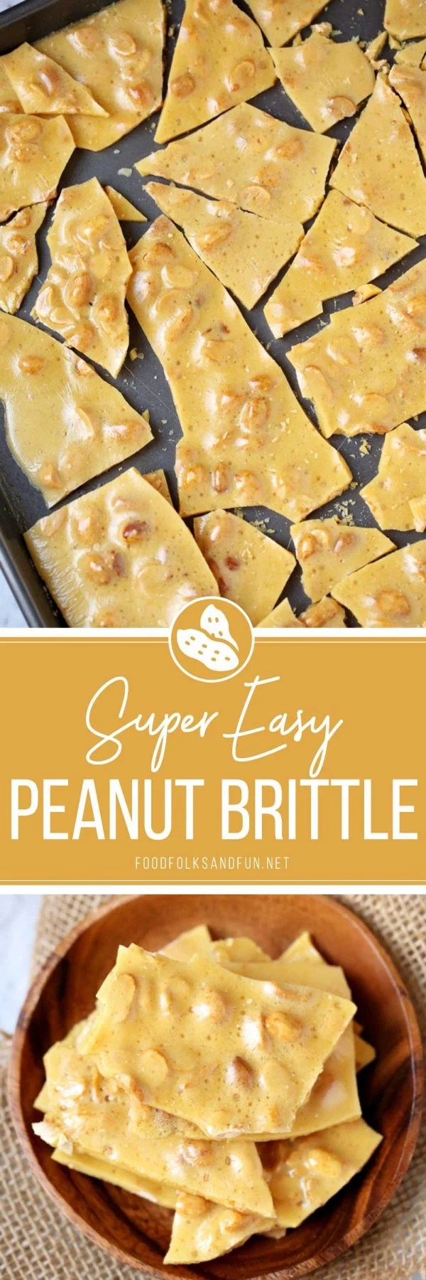 This classic Peanut Brittle recipe is easy to make and great for gift giving year-round. It's buttery, airy, and oh so addicting! via @foodfolksandfun