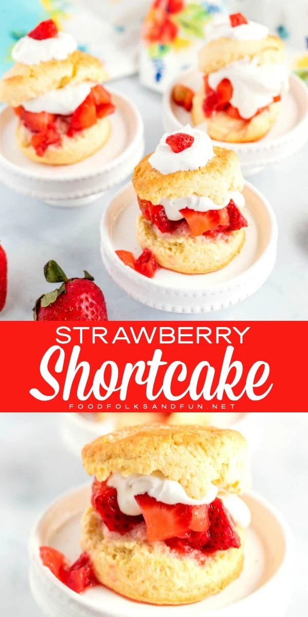 This homemade Strawberry Shortcake recipe is a classic for a reason. It has a tender shortcake, perfectly sweetened whipped cream and macerated and sliced strawberries. Made in less than an hour, this is my go-to summer dessert recipe. via @foodfolksandfun
