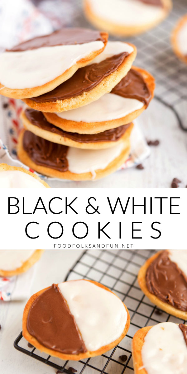 Black and White Cookies are an NYC bakery staple that is soft, cake-like, and covered with glossy vanilla and chocolate frosting. via @foodfolksandfun