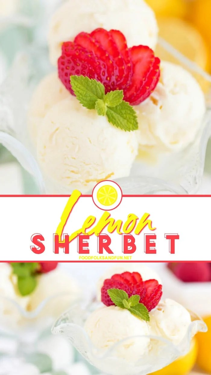 Creamy and vibrant Lemon Sherbet is a refreshing light treat. It's the cross between sorbet and ice cream, and it's easier to make than you think! 