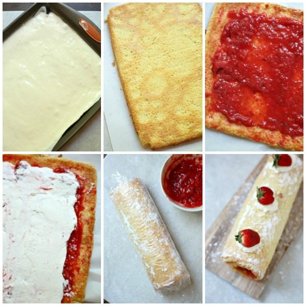 Picture collage of step-by-step picture of how to make this strawberry shortcake roll.