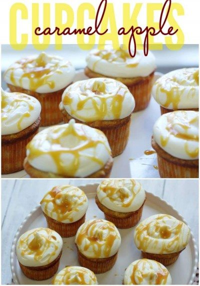 Caramel Apple Cupcakes with Text overlay for Pinterest