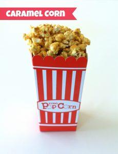 Homemade Caramel Corn in a popcorn box