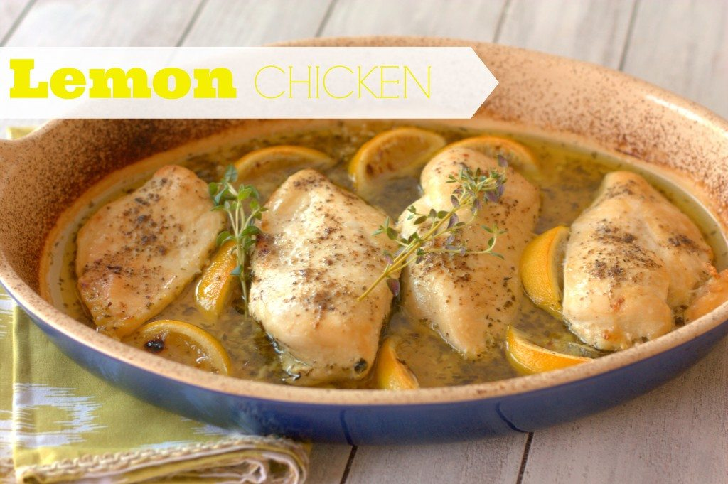 Lemon Chicken in a baking dish with text overlay for Pinterest