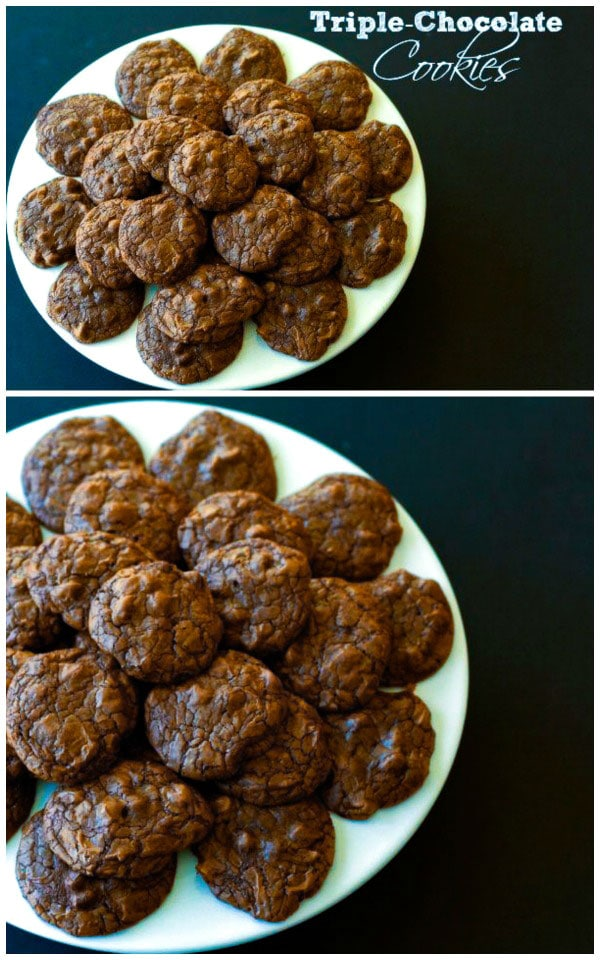 Triple Chocolate Cookies: unsweetened, bittersweet, and semisweet chocolate all packed into one cookie that is fudgy, rich and has intense chocolate flavor. via @foodfolksandfun