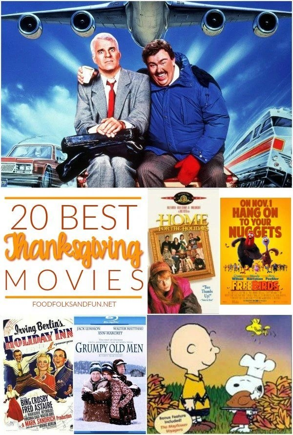 20 BEST Thanksgiving Movies image with text overlay.