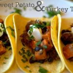 sweet potato and turkey tacos on a plate with text overlay for Pinterest