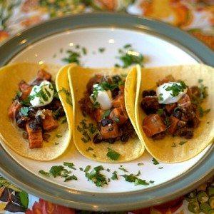 sweet potato and turkey tacos on a plate