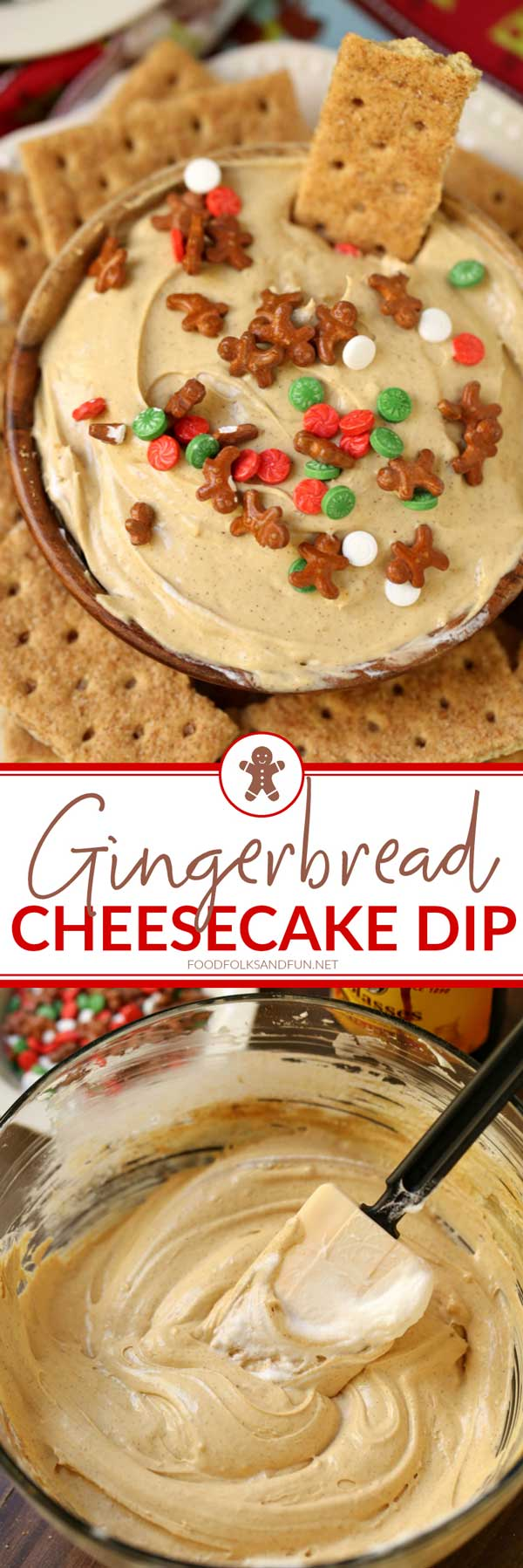 This Gingerbread Cheesecake Dip is always a party favorite for the holidays. Make it for your next holiday get together and I guarantee you'll be the most popular person in the room! via @foodfolksandfun