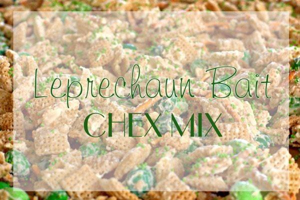 Close up of Leprechaun Bait Chex Mix