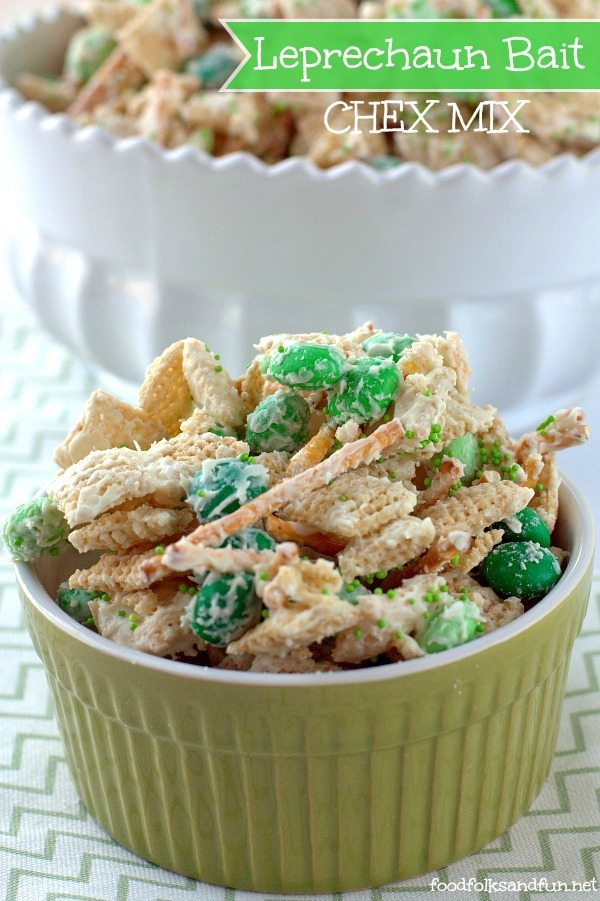 This Leprechaun Bait Chex Mix is a snack that is so quick, easy, and fun to make. It's great for school parties and party favors. This recipe costs just 84¢ per serving! via @foodfolksandfun