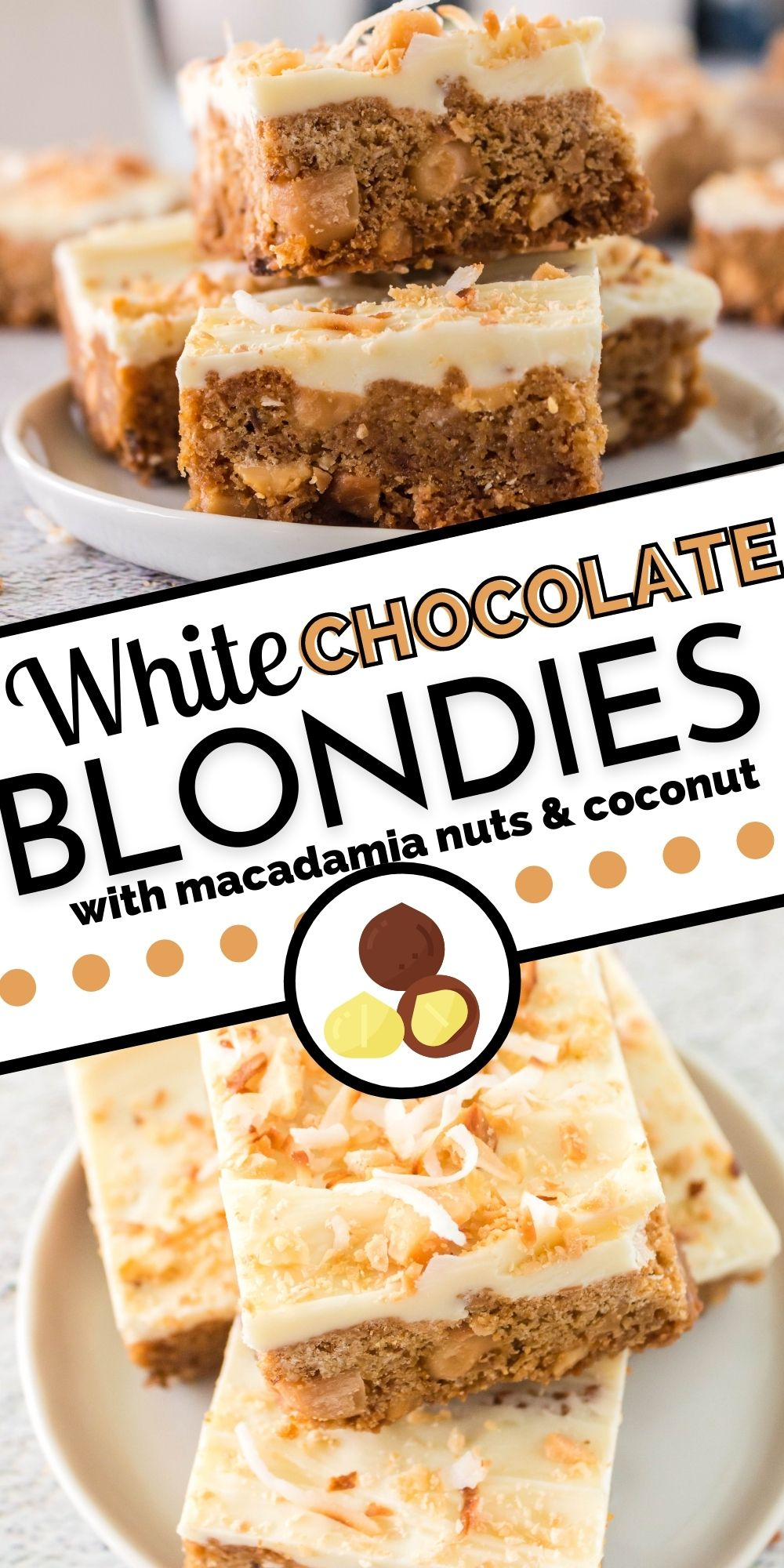 These White Chocolate Blondies with Macadamia Nuts and Coconut are perfect for potlucks and parties, get-togethers, and bake sales. They're bakery-quality, and people go nuts over them! via @foodfolksandfun
