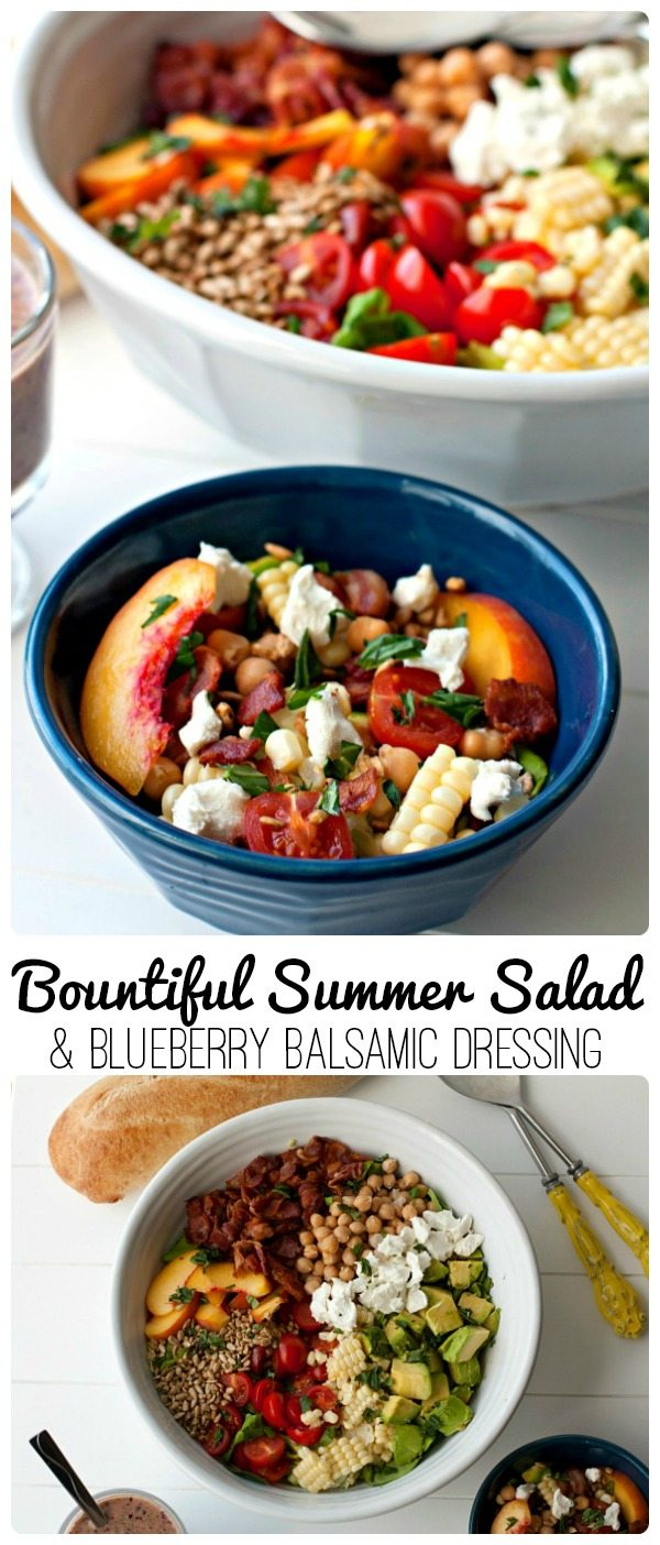 Celebrate summer with my Bountiful Summer Salad and Blueberry Balsamic Dressing Recipe. You can make this salad in just 15 minutes! via @foodfolksandfun