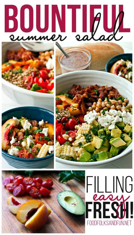 Bountiful Summer Salad picture collage for Pinterest.