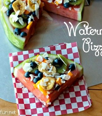 Watermelon Pizza slice with text overlay for Pinterest