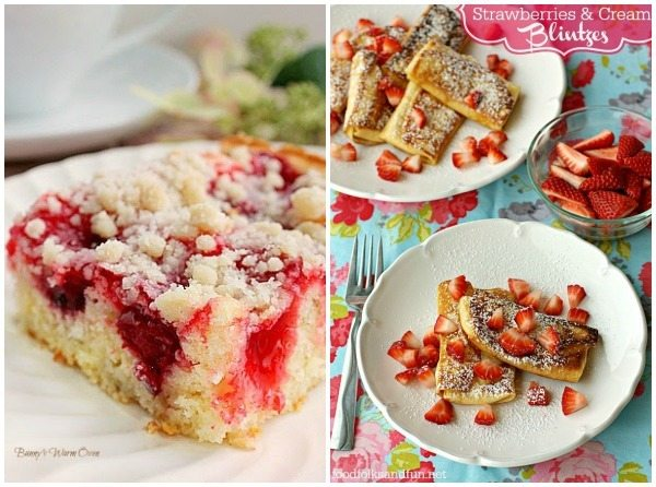 A collage of Strawberry Blintzes with text overlay for Pinterest