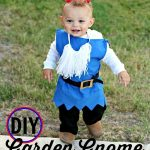A toddler in a DIY Garden Gnome costume with text overlay for Pinterest