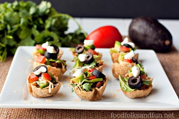 Taco Salad Mini Bites on a plate