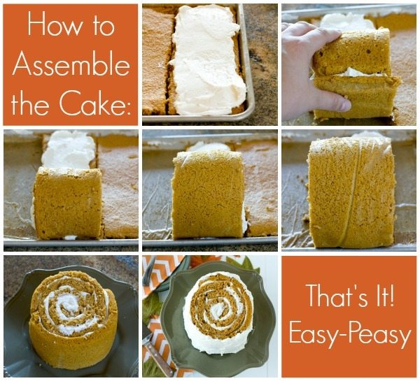 A collage of process shots showing how to assemble a Pumpkin Blossom Cake with text overlay for Pinterest