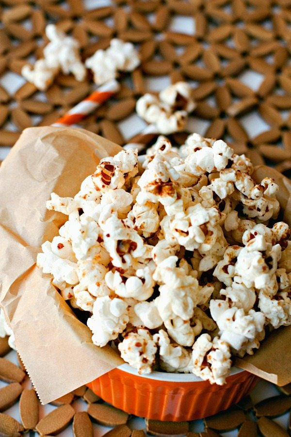 A close-up of Pumpkin Kettle Corn in a small bowl