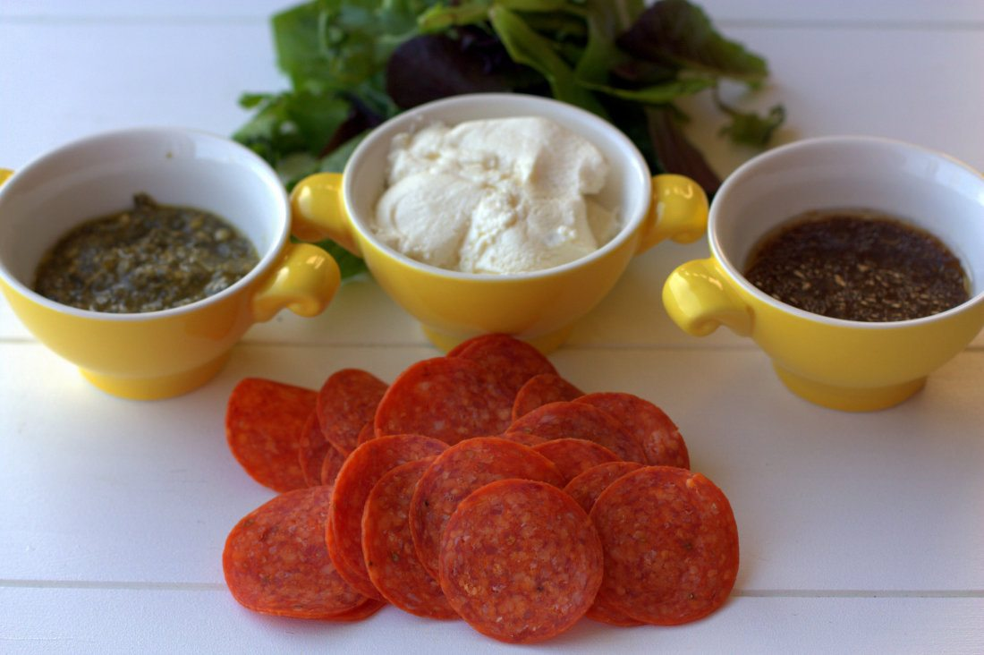 Ingredients needed for making pepperoni pizza salad sandwiches