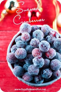 Sugared cranberries with text overlay for Pinterest