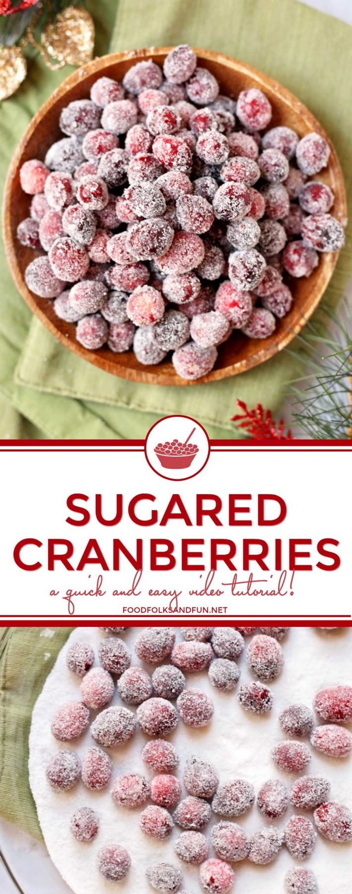 Enjoy this easy tutorial for Sugared Cranberries; they're the perfect holiday party snack. Add them to holiday cookies and cakes for some extra bling! via @foodfolksandfun