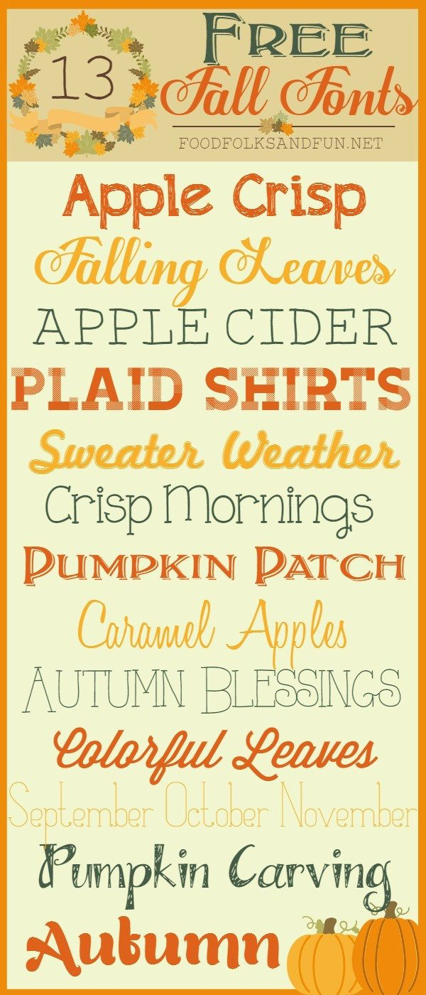 Here are 13 FREE Fall Fonts that I just love. Grab your favorite cozy sweater and enjoy this collection of cozy fall fonts. via @foodfolksandfun