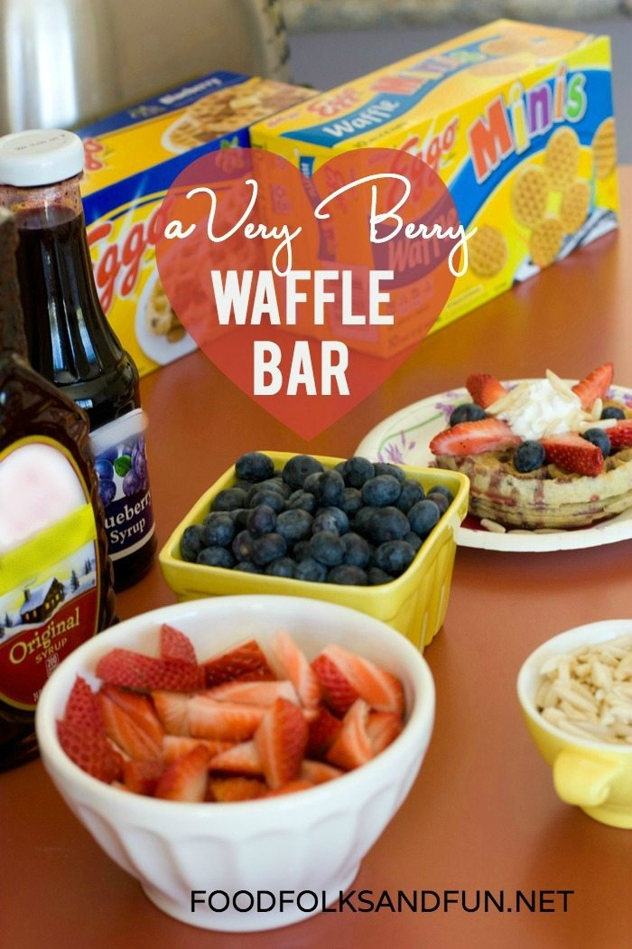 This Very Berry Waffle Bar is a self-serve waffle bar featuring Eggo waffles. It takes little effort and runs itself. It's great for weekends and guests. via @foodfolksandfun